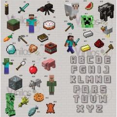 Minecraft  01 - En 1 m2 incluye hasta 15 figuras a tu gusto (Cada figura de 15 cm x 15 cm silueta recortada)