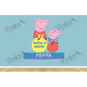 Peppa Pig 01- 125 cm x 150 cm - Nombre Personalizado (Silueta recortada, Impresión en HD)