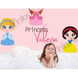 Princesas 01  - En 1 m2 incluye hasta 3 figuras a tu gusto (Cada princesa de 100 cm x 40 cm silueta recortada, impresión HD y nombre personalizado)